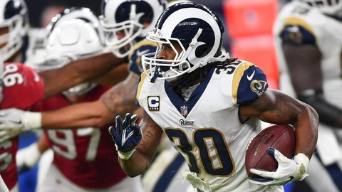 Oct 22, 2017; London, United Kingdom: Los Angeles Rams running back Todd Gurley II (30) runs with the ball during the second half of the game against the Arizona Cardinals at Twickenham Stadium. Mandatory Credit: Steve Flynn-USA TODAY Sports
