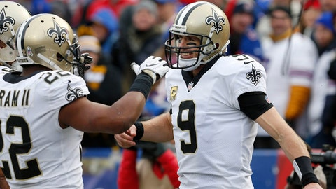 Nov 12, 2017; Orchard Park, NY, USA; New Orleans Saints quarterback Drew Brees (9) celebrates his touchdown with running back Mark Ingram (22) during the second half against the Buffalo Bills at New Era Field. Mandatory Credit: Timothy T. Ludwig-USA TODAY Sports