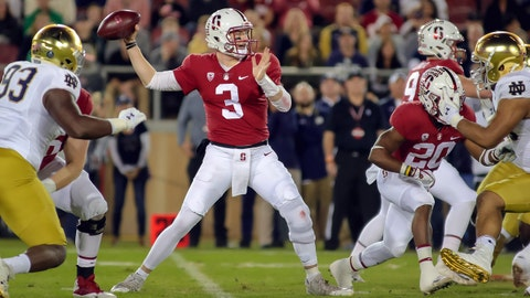 Nov 25, 2017; Stanford, CA, USA; Stanford Cardinal quarterback K.J. Costello (3) throws the ball during the first quarter against the Notre Dame Fighting Irish at Stanford Stadium. Mandatory Credit: Sergio Estrada-USA TODAY Sports