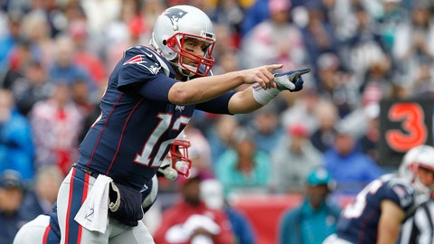 Oct 29, 2017; Foxborough, MA, USA; New England Patriots quarterback Tom Brady (12) during the first quarter against the Los Angeles Chargers at Gillette Stadium. Mandatory Credit: Stew Milne-USA TODAY Sports