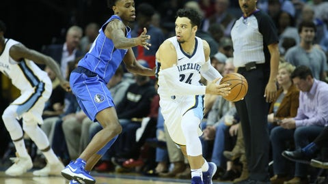 Nov 22, 2017; Memphis, TN, USA; Memphis Grizzlies guard Dillon Brooks (24) looks to pass as Dallas Mavericks guard Antonius Cleveland (44) defends in the first half at FedExForum. Mandatory Credit: Nelson Chenault-USA TODAY Sports