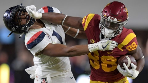 Nov 4, 2017; Los Angeles, CA, USA; Southern California Trojans tight end Daniel Imatorbhebhe (88) is defended by Arizona Wildcats linebacker Tony Fields II (1) during an NCAA football game at Los Angeles Memorial Coliseum. Mandatory Credit: Kirby Lee-USA TODAY Sports