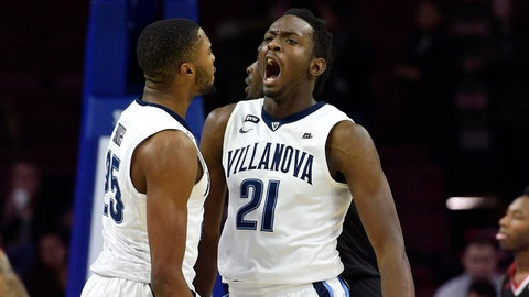 Nov 14, 2017; Philadelphia, PA, USA; Villanova Wildcats forward Dhamir Cosby-Roundtree (21) celebrates with guard Mikal Bridges (25) after scoring during the first half against the Nicholls State Colonels at Wells Fargo Center. Mandatory Credit: Derik Hamilton-USA TODAY Sports