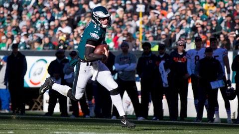 Nov 26, 2017; Philadelphia, PA, USA; Philadelphia Eagles quarterback Carson Wentz (11) runs with the ball against the Chicago Bears at Lincoln Financial Field. Mandatory Credit: Bill Streicher-USA TODAY Sports