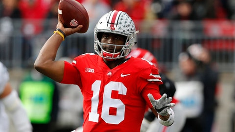 Nov 11, 2017; Columbus, OH, USA; Ohio State Buckeyes quarterback J.T. Barrett (16) drops back to throw during the second quarter against the Michigan State Spartans at Ohio Stadium. Mandatory Credit: Joe Maiorana-USA TODAY Sports