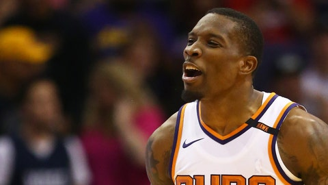 Oct 20, 2017; Phoenix, AZ, USA; Phoenix Suns guard Eric Bledsoe (2) reacts as he celebrates a play in the second half against the Los Angeles Lakers at Talking Stick Resort Arena. The Lakers defeated the Suns 132-130. Mandatory Credit: Mark J. Rebilas-USA TODAY Sports