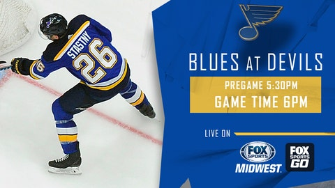 Tarasenko, Schwartz score in 1:35 span, Blues beat Devils