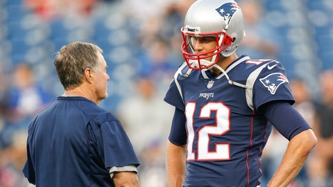Aug 31, 2017; Foxborough, MA, USA; New England Patriots quarterback Tom Brady (12) talks with head coach Bill Belichick before game against the New York Giants at Gillette Stadium. Mandatory Credit: Greg M. Cooper-USA TODAY Sports