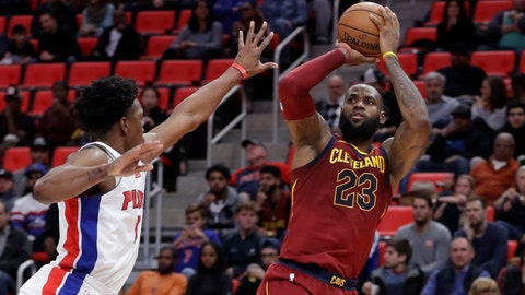 Cleveland Cavaliers forward LeBron James (23) shoots as Detroit Pistons forward Stanley Johnson defends during the second half of an NBA basketball game, Monday, Nov. 20, 2017, in Detroit. (AP Photo/Carlos Osorio)