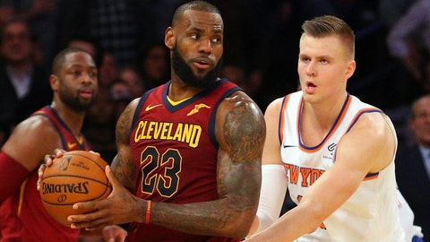 Nov 13, 2017; New York, NY, USA; Cleveland Cavaliers small forward LeBron James (23) plays the ball against New York Knicks power forward Kristaps Porzingis (6) during the fourth quarter at Madison Square Garden. Mandatory Credit: Brad Penner-USA TODAY Sports