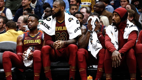 Oct 28, 2017; New Orleans, LA, USA; Cleveland Cavaliers players Dwyane Wade (left) and LeBron James and Jae Crowder and JR Smith (right) watch from the bench during the fourth quarter of a game at the Smoothie King Center. The Pelicans defeated the Cavaliers 123-101.  Mandatory Credit: Derick E. Hingle-USA TODAY Sports