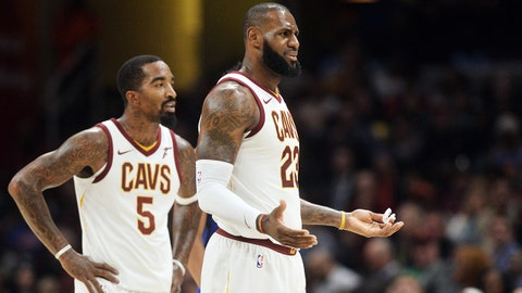 Oct 29, 2017; Cleveland, OH, USA; Cleveland Cavaliers forward LeBron James (23) and guard JR Smith (5) react to a call during the second half against the New York Knicks at Quicken Loans Arena. The Knicks won 114-95. Mandatory Credit: Ken Blaze-USA TODAY Sports