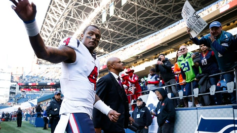 Oct 29, 2017; Seattle, WA, USA; Houston Texans quarterback Deshaun Watson (4) walks back to the locker room following a 41-38 loss against the Seattle Seahawks at CenturyLink Field. Mandatory Credit: Joe Nicholson-USA TODAY Sports
