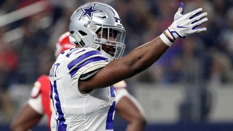 Nov 5, 2017; Arlington, TX, USA; Dallas Cowboys running back Ezekiel Elliott (21) reacts during the second half against the Kansas City Chiefs at AT&T Stadium. Mandatory Credit: Kevin Jairaj-USA TODAY Sports