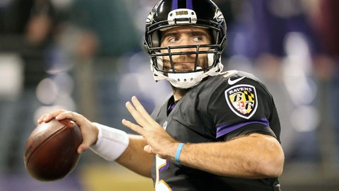 Nov 27, 2017; Baltimore, MD, USA; Baltimore Ravens quarterback Joe Flacco (5) warms up prior to the game against the Houston Texans at M&T Bank Stadium. Mandatory Credit: Mitch Stringer-USA TODAY Sports