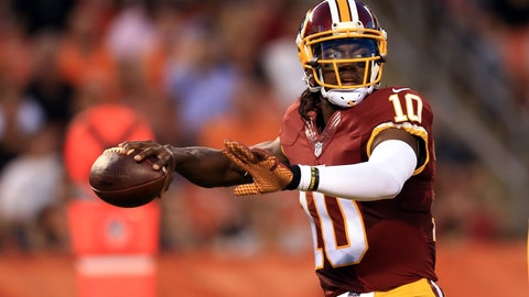 Aug 13, 2015; Cleveland, OH, USA; Washington Redskins quarterback Robert Griffin III (10) in a preseason NFL football game against the Cleveland Browns at FirstEnergy Stadium. Mandatory Credit: Andrew Weber-USA TODAY Sports