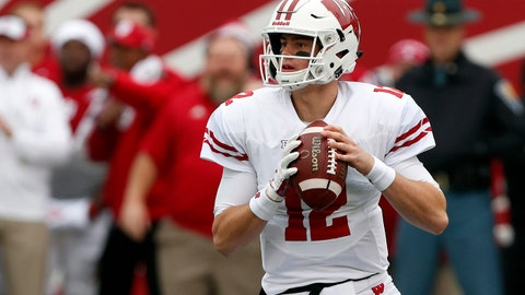 Nov 4, 2017; Bloomington, IN, USA; Wisconsin Badgers quarterback Alex Hornibrook (12) throws a pass against the Indiana Hoosiers at Memorial Stadium. Mandatory Credit: Brian Spurlock-USA TODAY Sports