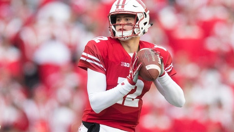 Nov 11, 2017; Madison, WI, USA; Wisconsin Badgers quarterback Alex Hornibrook (12) during the game against the Iowa Hawkeyes at Camp Randall Stadium. Mandatory Credit: Jeff Hanisch-USA TODAY Sports
