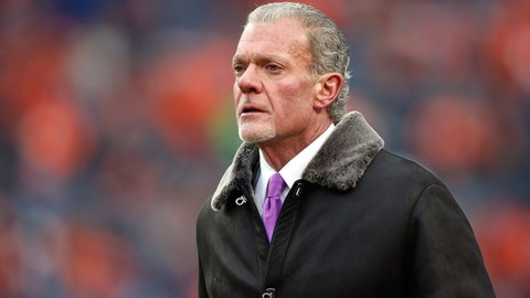 Jan 11, 2015; Denver, CO, USA; Indianapolis Colts owner Jim Irsay in the 2014 AFC Divisional playoff football game at Sports Authority Field at Mile High. Mandatory Credit: Chris Humphreys-USA TODAY Sports