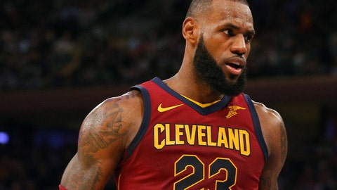 Nov 13, 2017; New York, NY, USA; Cleveland Cavaliers small forward LeBron James (23) reacts after hitting the go ahead three point shot against the New York Knicks during the fourth quarter at Madison Square Garden. Mandatory Credit: Brad Penner-USA TODAY Sports