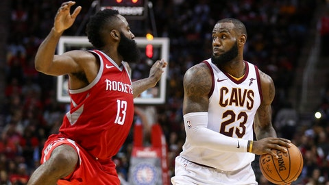 Nov 9, 2017; Houston, TX, USA; Cleveland Cavaliers forward LeBron James (23) controls the ball as Houston Rockets guard James Harden (13) defends during the fourth quarter at Toyota Center. Mandatory Credit: Troy Taormina-USA TODAY Sports