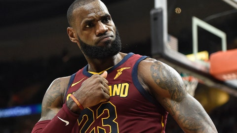 Nov 1, 2017; Cleveland, OH, USA; Cleveland Cavaliers forward LeBron James (23) reacts after a basket in the fourth quarter against the Indiana Pacers at Quicken Loans Arena. Mandatory Credit: David Richard-USA TODAY Sports