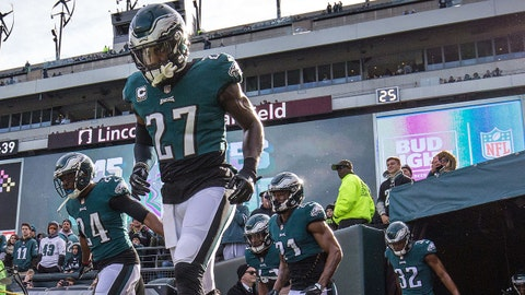 Nov 26, 2017; Philadelphia, PA, USA; Philadelphia Eagles strong safety Malcolm Jenkins (27) leads the defensive backs onto the field before a game against the Chicago Bears at Lincoln Financial Field. Mandatory Credit: Bill Streicher-USA TODAY Sports