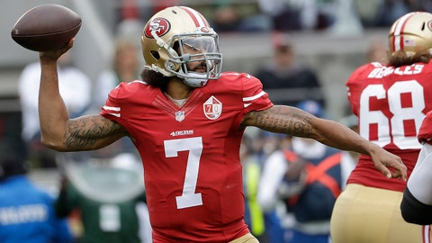 "FILE - In this Dec. 11, 2016, file photo, San Francisco 49ers quarterback Colin Kaepernick (7) passes against the New York Jets during the first half of an NFL football game in Santa Clara, Calif.  Houston Texans coach Bill O'Brien says he and general manager Rick Smith have discussed signing Colin Kaepernick in the wake of last week's season-ending injury to Deshaun Watson. When asked about Kaepernick on Monday, a day after Tom Savage struggled in a loss to the Colts, O'Brien said: ""We talk about the roster and what's out there every day Rick and I."" When pressed on whether they have specifically discussed adding Kaepernick he said: ""Oh yeah, everybody gets discussed."" (AP Photo/Marcio Jose Sanchez, File)"