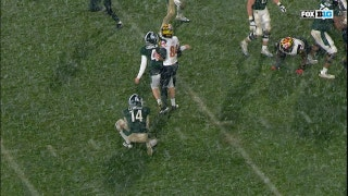 Should the Michigan St. kicker have been penalized for flopping?