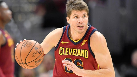 Oct 24, 2017; Cleveland, OH, USA; Cleveland Cavaliers guard Kyle Korver (26) dribbles in the third quarter against the Chicago Bulls at Quicken Loans Arena. Mandatory Credit: David Richard-USA TODAY Sports
