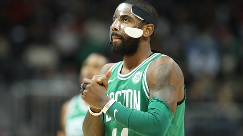 Nov 18, 2017; Atlanta, GA, USA; Boston Celtics guard Kyrie Irving (11) prepares for their game against the Atlanta Hawks in the first quarter at Philips Arena. Mandatory Credit: Jason Getz-USA TODAY Sports