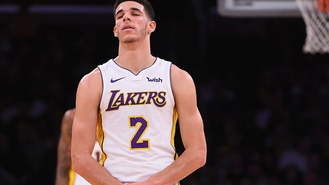 Nov 19, 2017; Los Angeles, CA, USA;  Los Angeles Lakers guard Lonzo Ball (2) grabs his wrist in the second half against the Denver Nuggets at Staples Center. Mandatory Credit: Jayne Kamin-Oncea-USA TODAY Sports