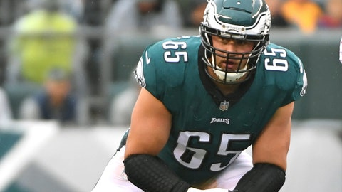 Oct 29, 2017; Philadelphia, PA, USA; Philadelphia Eagles offensive tackle Lane Johnson (65) waits for the snap against the San Francisco 49ers at Lincoln Financial Field. Mandatory Credit: Eric Hartline-USA TODAY Sports