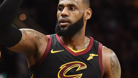 Nov 24, 2017; Cleveland, OH, USA; Cleveland Cavaliers forward LeBron James (23) celebrates with fans after the Cavs beat the Charlotte Hornets at Quicken Loans Arena. Mandatory Credit: Ken Blaze-USA TODAY Sports