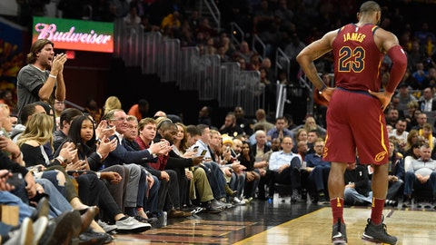 Nov 1, 2017; Cleveland, OH, USA; Cleveland Cavaliers forward LeBron James (23) reacts in the fourth quarter against the Indiana Pacers at Quicken Loans Arena. Mandatory Credit: David Richard-USA TODAY Sports