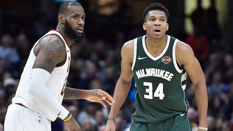 Nov 7, 2017; Cleveland, OH, USA; Cleveland Cavaliers forward LeBron James (23) defends Milwaukee Bucks forward Giannis Antetokounmpo (34) in the fourth quarter at Quicken Loans Arena. Mandatory Credit: David Richard-USA TODAY Sports