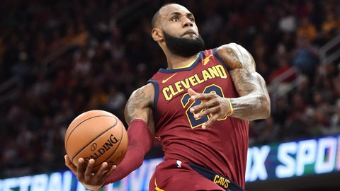 Nov 22, 2017; Cleveland, OH, USA; Cleveland Cavaliers forward LeBron James (23) goes for a slam dunk during the first half against the Brooklyn Nets at Quicken Loans Arena. Mandatory Credit: Ken Blaze-USA TODAY Sports