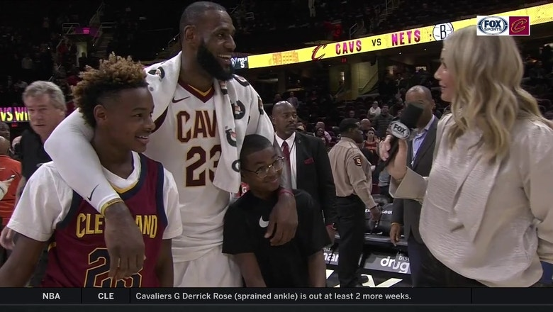 LeBron's sons, LeBron Jr. and Bryce Maximus, join in on his postgame interview