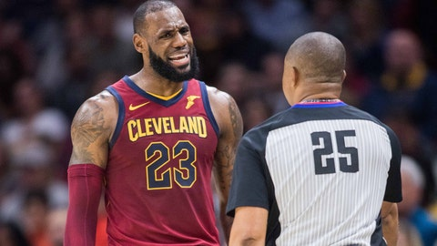 Nov 5, 2017; Cleveland, OH, USA; Cleveland Cavaliers forward LeBron James (23) argues a call with NBA referee Tony Brothers (25) during the first quarter against the Atlanta Hawks at Quicken Loans Arena. Mandatory Credit: Scott R. Galvin-USA TODAY Sports
