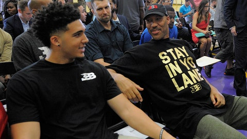 June 23, 2017; Los Angeles, CA, USA;  LaVar Ball father of newly drafted Los Angeles Lakers player speaks with his son LiAngelo Ball at Toyota Sports Center. Mandatory Credit: Gary A. Vasquez-USA TODAY Sports