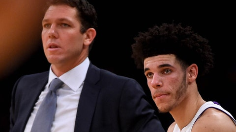 Nov 5, 2017; Los Angeles, CA, USA; Los Angeles Lakers head coach Luke Walton and guard Lonzo Ball (2) in the second half of the game against the Memphis Grizzlies at Staples Center. Mandatory Credit: Jayne Kamin-Oncea-USA TODAY Sports