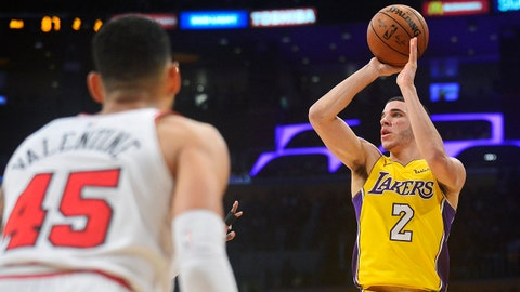 November 21, 2017; Los Angeles, CA, USA; Los Angeles Lakers guard Lonzo Ball (2) shoots against the Chicago Bulls during the second half at Staples Center. Mandatory Credit: Gary A. Vasquez-USA TODAY Sports