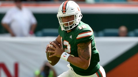 Nov 18, 2017; Miami Gardens, FL, USA; Miami Hurricanes quarterback Malik Rosier (12) scrambles during the first half against Virginia Cavaliers at Hard Rock Stadium. Mandatory Credit: Steve Mitchell-USA TODAY Sports