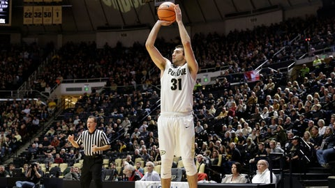 Purdue guard Dakota Mathias (31) shoots a wide open three-point basket against SIU-Edwardsville in the second half of an NCAA college basketball game in West Lafayette, Ind., Friday, Nov. 10, 2017. (AP Photo/AJ Mast)