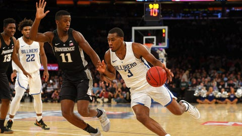 Nov 17, 2017; New York, NY, USA; Saint Louis Billikens guard Javon Bess (3) drives against Providence Friars guard Alpha Diallo (11) during the first half at Madison Square Garden. Mandatory Credit: Brad Penner-USA TODAY Sports