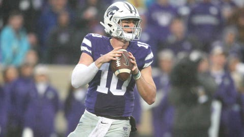 Nov 11, 2017; Manhattan, KS, USA; Kansas State Wildcats quarterback Skylar Thompson (10) drops back to pass during the third quarter of a game against the West Virginia Mountaineers at Bill Snyder Family Stadium. The Mountaineers won the game 28-23. Mandatory Credit: Scott Sewell-USA TODAY Sports