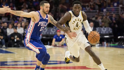 Nov 3, 2017; Philadelphia, PA, USA; Indiana Pacers guard Victor Oladipo (4) dribbles the ball around Philadelphia 76ers forward JJ Redick (17) during the second half at Wells Fargo Center. Mandatory Credit: Bill Streicher-USA TODAY Sports