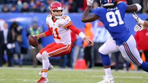 Quarterback Alex Smith threw two costly interceptions against the Giants.	 Brad Penner-USA TODAY Sports