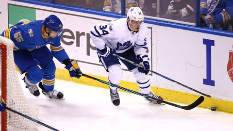 Blues score six to hold off Maple Leafs