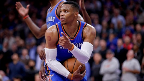 Nov 7, 2017; Sacramento, CA, USA; Oklahoma City Thunder guard Russell Westbrook (0) calls a timeout after securing a rebound against the Sacramento Kings in the fourth quarter at Golden 1 Center. Mandatory Credit: Cary Edmondson-USA TODAY Sports